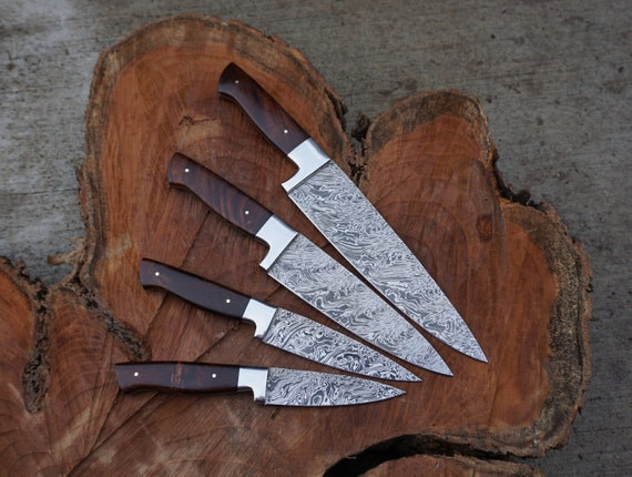 Rosewood Chef Knives; Twist Pattern Damascus steel, Natural Rosewood handle