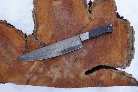 "10"" Wenge wood Tiger Chef Knife; DS bolster, Layered Damascus steel"