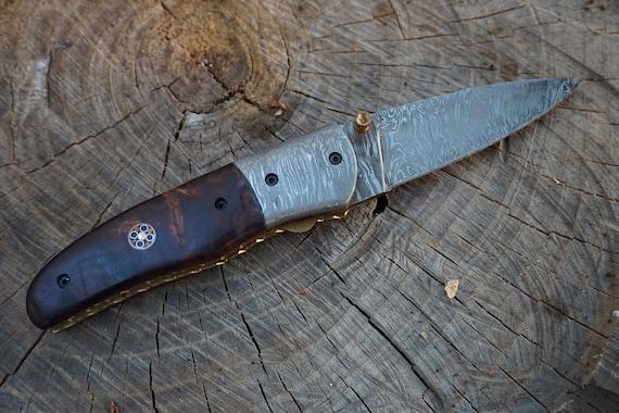 Damascus Folding Knife, Rosewood Burl Handle