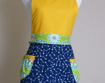 Lemongrass Apron, Women's full apron with pockets - Laneymade