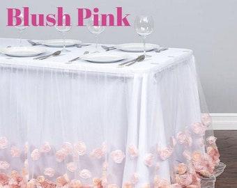 58c342386 17 ft. Tulle Rose Table Skirt