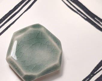 Teal Gem shaped Ceramic Brooch