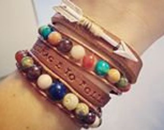 Leather Double Wrap Assorted Gemstones