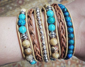 Tan leather double wrap with gemstones