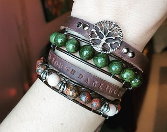 Leather Double Wrap with gemstones
