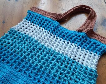 Eco Plant dyed golden yellow Medium sized simple Twine Crochet Boho Hippie Market Produce Shoulder Shopping Bag Handmade Reusable