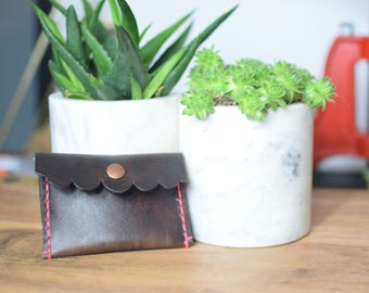 Leather Coin Wallet, coin purse, leather coin pouch, genuine leather wallet, coin wallet, scalloped leather pouch, gift for her