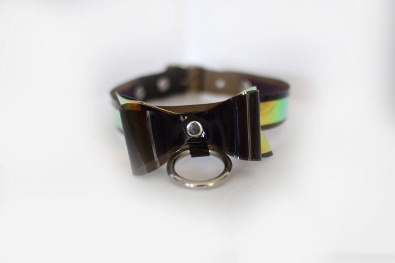 Black Iridescent Bow Choker Necklace for Unicorns