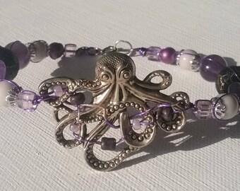 Purple White Octopus Bracelet