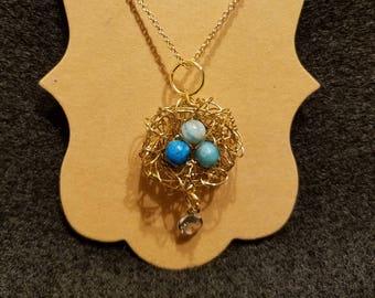 Robin's Egg Nest Charm Necklace with Swarovski Crystal