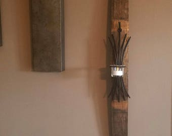Hanging wood candle holder