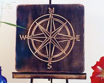Wood Compass Carving