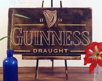 Wood Carved Guinness Sign