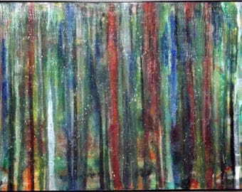 """30"""" x 40"""" acrylic abstract painting, framed, ready to hang, drip painting, colorful, textured"""