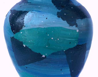 """Hand-painted Patchwork Blue/Green Glass Vase, 8"""" tall, colorful, home decorating item, flower vase, ocean colors, gift item, FREE shipping"""