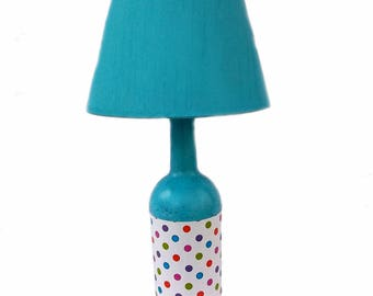 Turquoise Polka Dot Lamp, upcycled, hand-painted/decorated wine bottle, recycled bottle, kids room lighting, accent lamp, Free Shipping