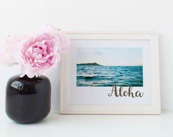 Diamond Head print, aloha print, digital print, Oahu print, printable art, instant download print