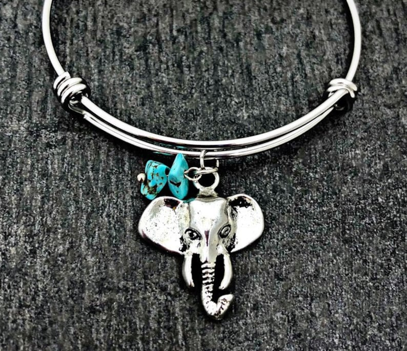 Stainless steel adjustable Bangle Best friends gift handmade.......Add a letter and birthstone Elephant bangle
