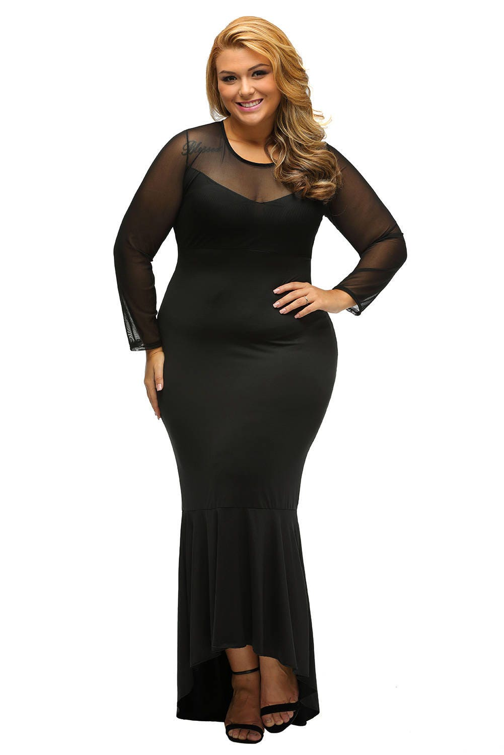 1242d7af37a3 Plus Size Black Mermaid Dress - Aztec Stone and Reclamations