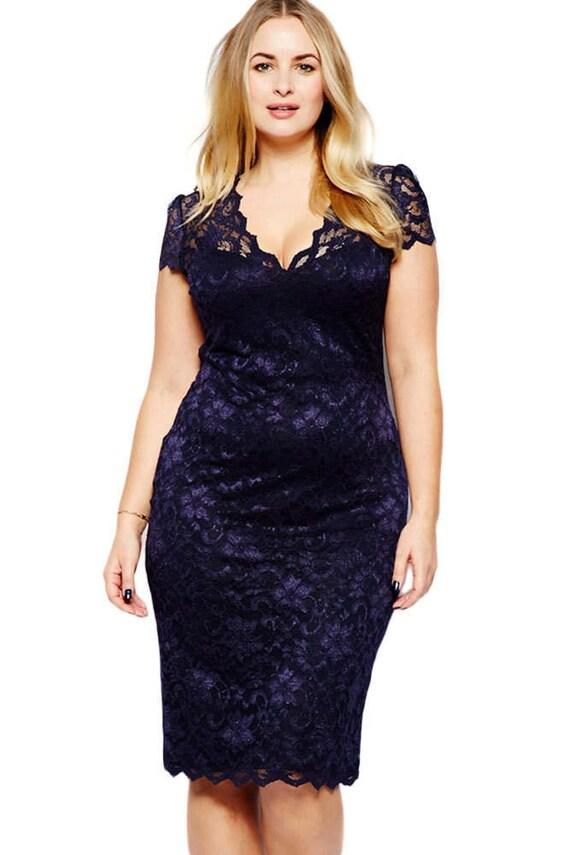 Plus Size Dress. Navy Blue Scalloped V-neck Lace Plus Size Midi Dress.  Women Plus Size Dress, Casual Plus Size Dress, Women\'s Dress.