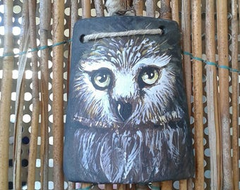 Owl painted on tile