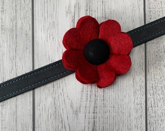 Remembrance Day Red Marl Poppy Dog Collar Flower in a wool felt fabric
