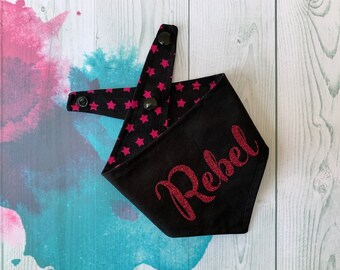 Reversible Dog Bandana with a 'Rebel' vinyl print/ Black with Pink Stars / Glitter Bandana / Rebel Bandana