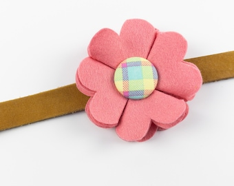 Pink Dog Collar Flower in a wool felt fabric with a spring check button