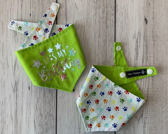 Birthday Dog Bandana in Green and multicoloured paw prints fabric.
