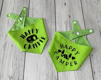 Double Sided 'Happy Camper' Dog Bandana