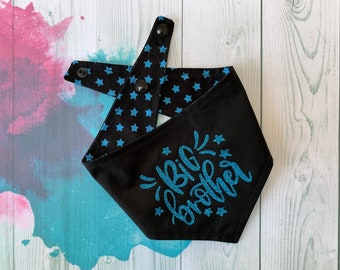 Big Brother Reversible Dog Bandana / Black with Blue Stars / Glitter Bandana / Big Brother Bandana