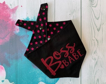 Reversible Dog Bandana with a 'Boss Babe' vinyl print/ Black with Pink Stars / Glitter Bandana / Boss Babe Bandana