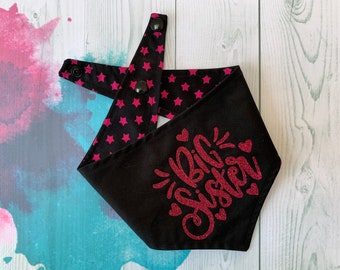 Big Sister Reversible Dog Bandana / Black with Pink Stars / Glitter Bandana / Big Sister Bandana