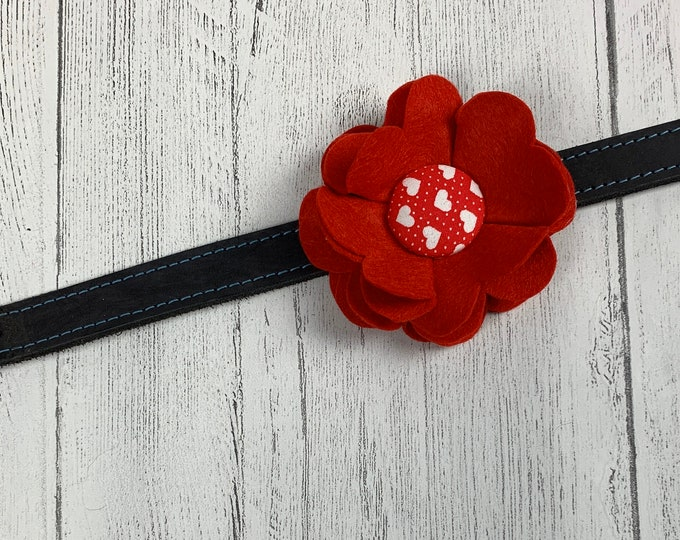 Featured listing image: Red Valentine Collar Flower in a wool felt fabric with a red and white hearts fabric button centre