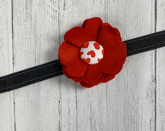 Red Valentine Collar Flower in a wool felt fabric with a white and red hearts fabric button centre