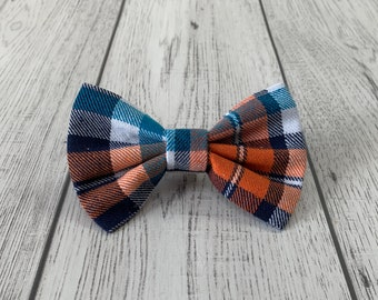 Dog Bow Tie in Blue and Orange Brushed Cotton Tartan Fabric