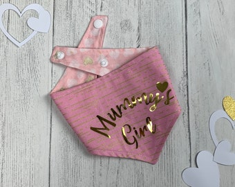 Mummy's Girl pink and gold metallic reversible Dog Bandana