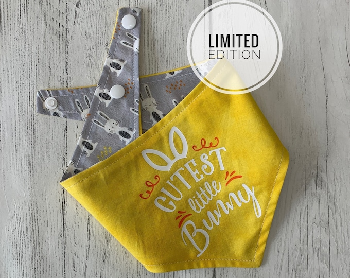 Featured listing image: Reversible Cutest Little Bunny Dog Bandana in Yellow with Grey Bunny Fabric