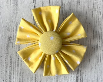Yellow Fabric Dog Collar Flower