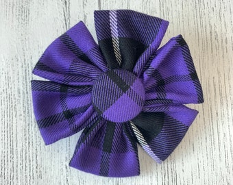Purple Tartan Dog Collar Flower