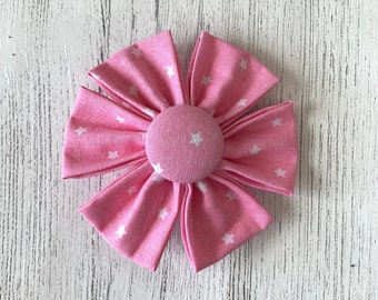 Pink Fabric Dog Collar Flower