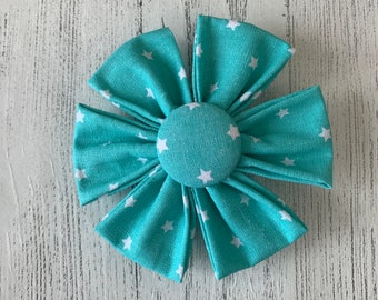 Turquoise Fabric Dog Collar Flower