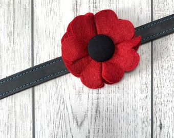 Remembrance Day Red Poppy Dog Collar Flower in a wool felt fabric