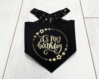 Birthday Dog Bandana in a stunning black and gold fabric.