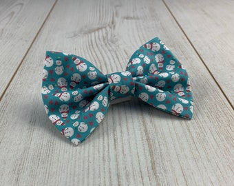 Teal Mini Snowman Dog Bow Tie