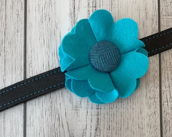 Turquoise Dog Collar Flower in a wool felt fabric with a herringbone button