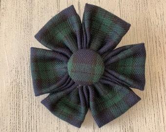 Black watch Tartan Dog Collar Flower