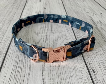 Blue, Mustard and Blush Geometric Fabric Dog Collar with Rose Gold hardware / dog collar and lead set