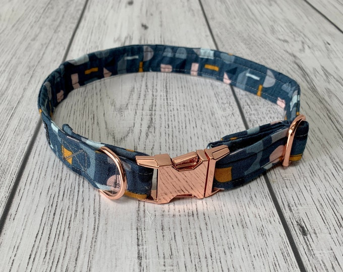 Featured listing image: Blue, Mustard and Blush Geometric Fabric Dog Collar with Rose Gold hardware / dog collar and lead set