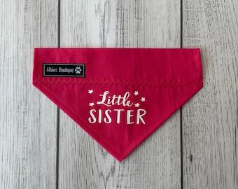 Little Sister Dog Bandana / Over the Collar Bandana / Bright Pink Bandana